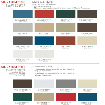 Nucor Building Systems Color Chart